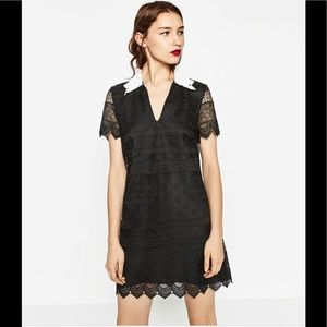 🌊 NWT Zara black lace mini dress M